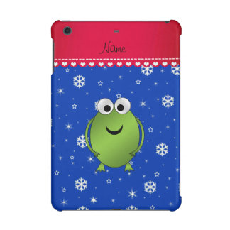Personalized name frog blue snowflakes red stripe iPad mini cover