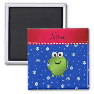 Personalized name frog blue snowflakes red stripe magnet