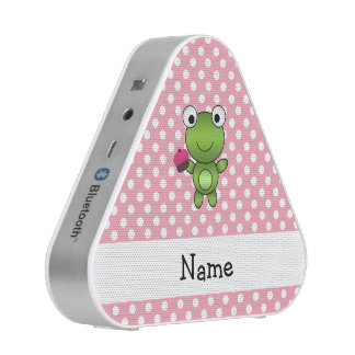 Personalized name frog cupcake pink polka dots speaker