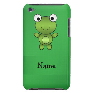Personalized name frog green background barely there iPod cases