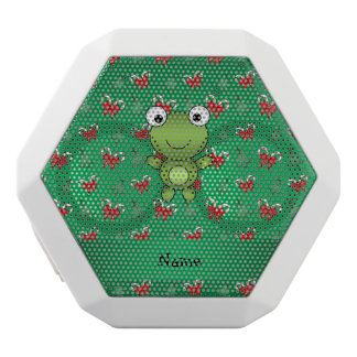 Personalized name frog green candy canes bows
