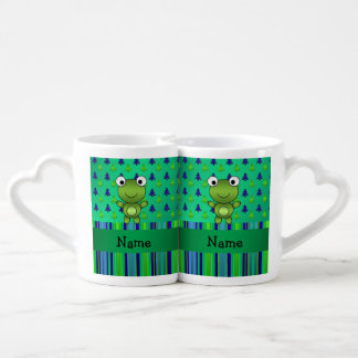 Personalized name frog green christmas trees lovers mugs
