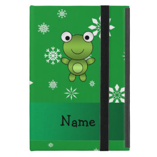 Personalized name frog green snowflakes iPad mini covers