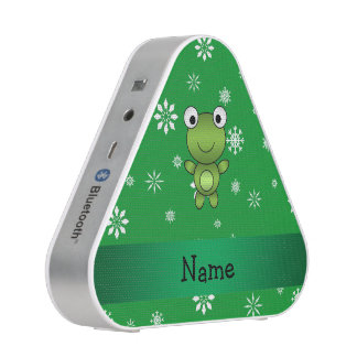 Personalized name frog green snowflakes