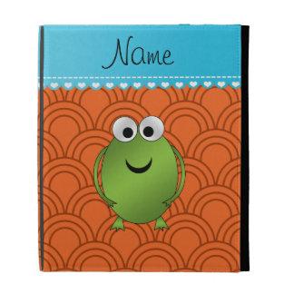 Personalized name frog orange circles blue stripe iPad cases