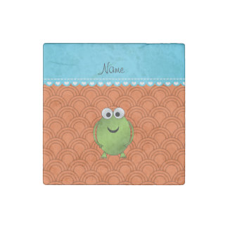 Personalized name frog orange circles blue stripe stone magnet