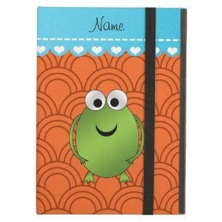 Personalized name frog orange circles blue stripe iPad air case