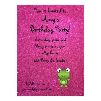 Personalized name frog pink glitter 5.5x7.5 paper invitation card