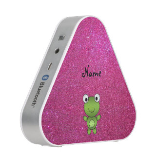 Personalized name frog pink glitter bluetooth speaker