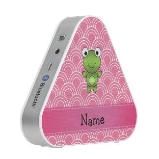 Personalized name frog pink half circles pattern