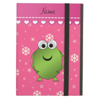 Personalized name frog pink snowflakes pink stripe iPad air cases