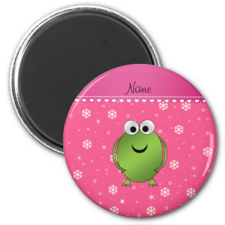 Personalized name frog pink snowflakes pink stripe magnets