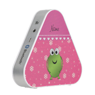 Personalized name frog pink snowflakes pink stripe speaker