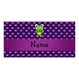 Personalized name frog purple hearts personalised photo card