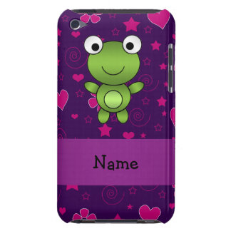 Personalized name frog purple pink flowers hearts iPod touch Case-Mate case