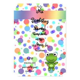 Personalized name frog rainbow polka dots 13 cm x 18 cm invitation card