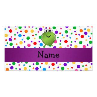 Personalized name frog rainbow polka dots custom photo card