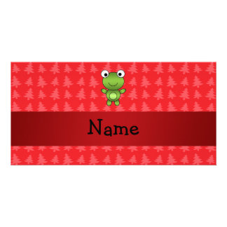Personalized name frog red christmas trees personalised photo card