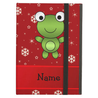 Personalized name frog red snowflakes case for iPad air