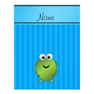 Personalized name frog sky blue stripes custom flyer