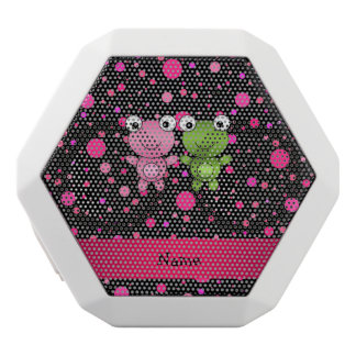 Personalized name frogs black pink polka dots