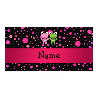Personalized name frogs black pink polka dots customised photo card