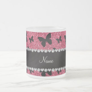 Personalized name fuchsia pink glitter butterflies frosted glass mug