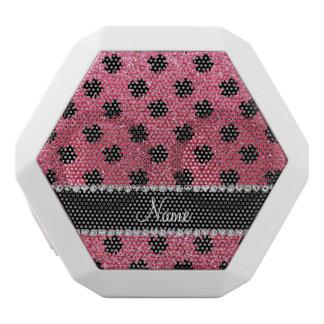 Personalized name fuchsia pink glitter shamrocks