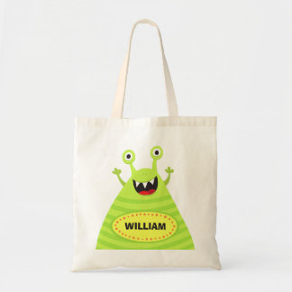 Personalized name funny green monster tote bag