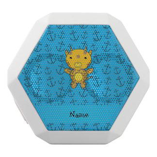 Personalized name giraffe blue anchors pattern white boombot rex bluetooth speaker