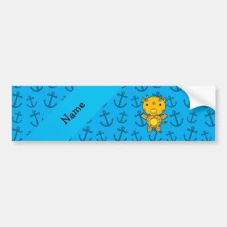 Personalized name giraffe blue anchors pattern bumper stickers