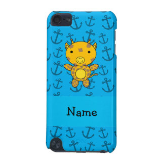 Personalized name giraffe blue anchors pattern iPod touch 5G case