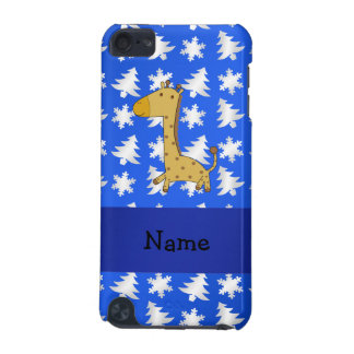 Personalized name giraffe blue snowflakes trees iPod touch 5G case