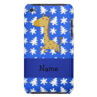 Personalized name giraffe blue snowflakes trees barely there iPod case