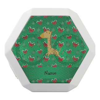 Personalized name giraffe green candy canes bows white boombot rex bluetooth speaker