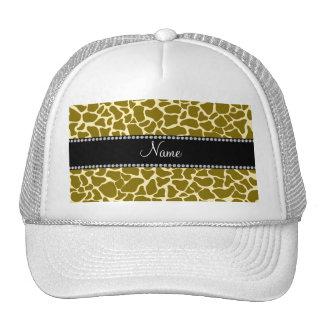 Personalized name giraffe pattern hats