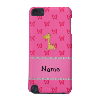 Personalized name giraffe pink butterflies iPod touch 5G covers