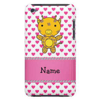 Personalized name giraffe pink hearts polka dots iPod Case-Mate cases