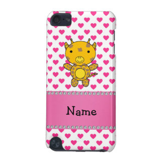 Personalized name giraffe pink hearts polka dots iPod touch 5G covers