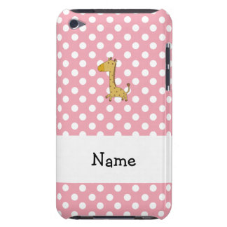 Personalized name giraffe pink polka dots iPod touch case