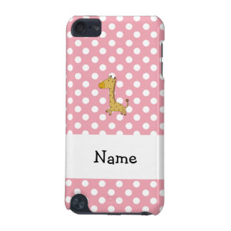 Personalized name giraffe pink polka dots iPod touch (5th generation) case