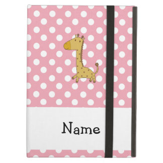 Personalized name giraffe pink polka dots iPad air case