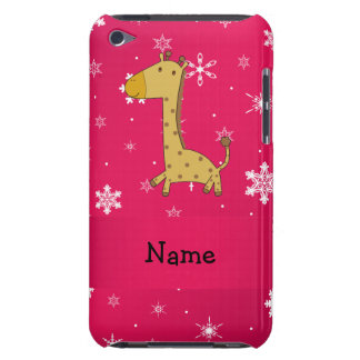 Personalized name giraffe pink snowflakes Case-Mate iPod touch case