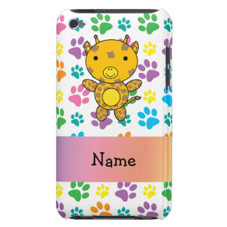 Personalized name giraffe rainbow paws iPod touch covers