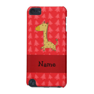 Personalized name giraffe red christmas trees iPod touch (5th generation) case