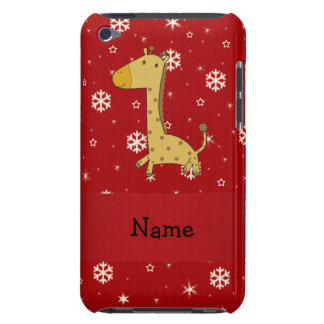 Personalized name giraffe red snowflakes iPod Case-Mate cases