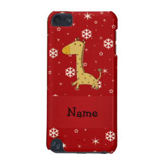 Personalized name giraffe red snowflakes iPod touch (5th generation) cover