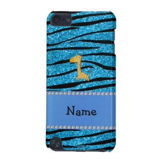 Personalized name giraffe sky blue zebra stripes iPod touch 5G covers