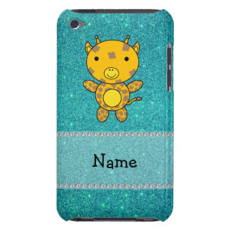 Personalized name giraffe turquoise glitter iPod touch case