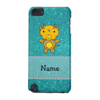 Personalized name giraffe turquoise glitter iPod touch (5th generation) cases